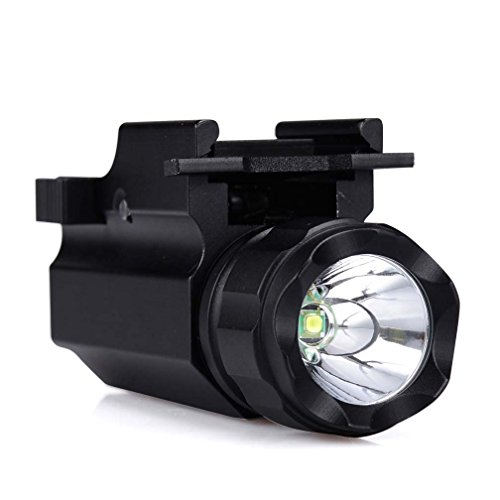 Canwelum Strobe Cree LED Pistol Light, Tactical Weapon Mounted Gun Flashlight with Weaver Quick Release (A Set with CR123A Li-ion battery)