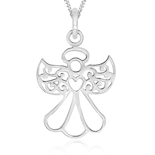 (925 Sterling Silver Filigree Guardian Angel Love You Forever Pendant Necklace 18