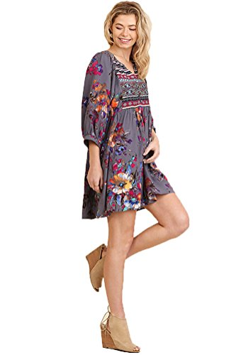 Tunic or Umgee Women's Bohemian Dress Combo Grey HwnRFnAv4x