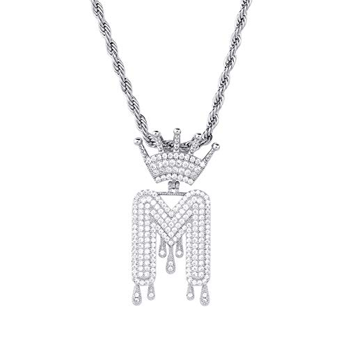 Style Mens Diamond - HECHUANG Micropave Simulated Diamond Iced Out Crowned Initial Dripping Letters Pendant with Rope Chain (Silver M, 24)