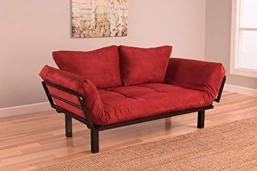 Best Futon Lounger Sit Lounge Sleep Smaller Size Furniture is Perfect for College Dorm Bedroom Studio Apartment Guest Room Covered Patio Porch . KEY KITTY Key Chain INCLUDED (RED)