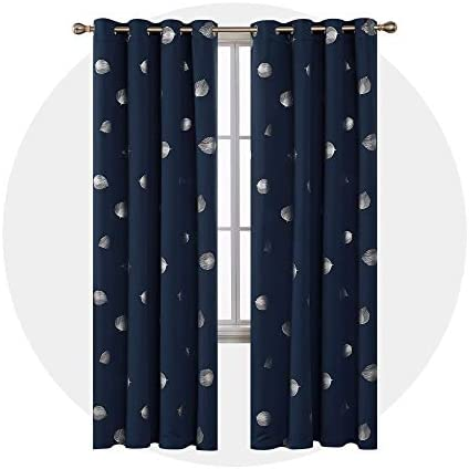 Deconovo Grommet Blackout Palm Fan Foil Print Curtains Thermal Insulated Room Darkening Curtain for Living Room 52 x 96 Inch Navy Blue Set of 2