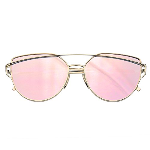 Emblem Eyewear - Cat Eye Mirrored Flat Lenses Aviator Sunglasses Metal Frame Womens Shades - Buy Reflector Sunglasses