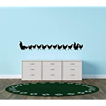 Vinyl Wall Decal Sticker : Chicken Line Chicks Bedroom Bathroom Living Room Picture Art Peel & Stick Mural Size: 8 Inches X 24 Inches - 22 Colors Available