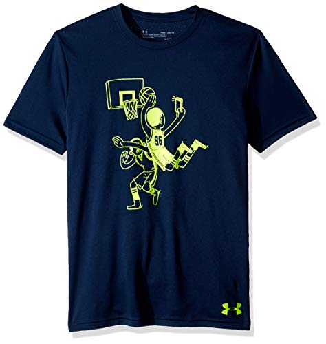 Under Armour Basketball Selfie Short Sleeve, Academy//High-Vis Yellow, Youth X-Large