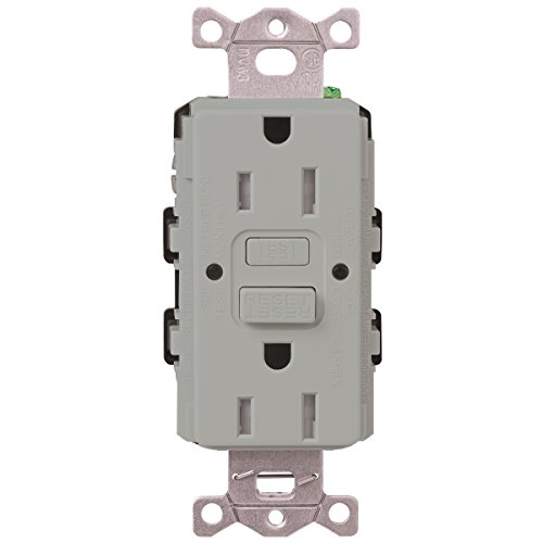 Price comparison product image Lutron CAR-15-GFST-GR Claro 15 Amp Self-Testing Receptacle, Gray