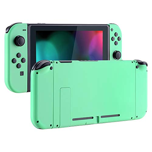 (eXtremeRate Soft Touch Grip Back Plate for Nintendo Switch Console, NS Joycon Handheld Controller Housing with Full Set Buttons, DIY Replacement Shell for Nintendo Switch - Mint Green)