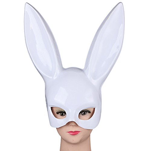 Amaping Women Bright Easter Party Rabbit Ears Mask Half Face Masks Nightclub Bar Masquerade (White) -