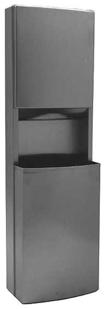 Bobrick 43949 ConturaSeries 304 Stainless Steel Surface Mounted Paper Towel Dispenser and Waste Receptacle, Satin Finish, 17-9/16'' Width x 56-3/8'' Height