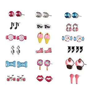 Ainiya 18 Pairs Cute Cartoon Stud Earrings Set For Girls Kids