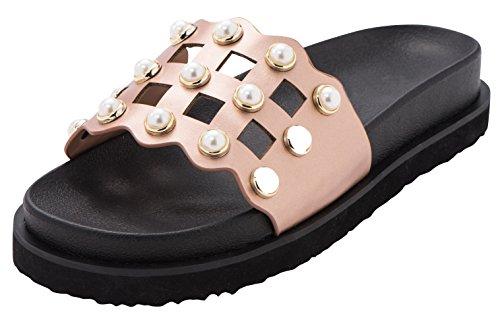 Cambridge Select Womens Open Toe Geometric Cutout Faux Pearl Flatform Flat Slip-On Slide Sandal Rose Gold SIky3h