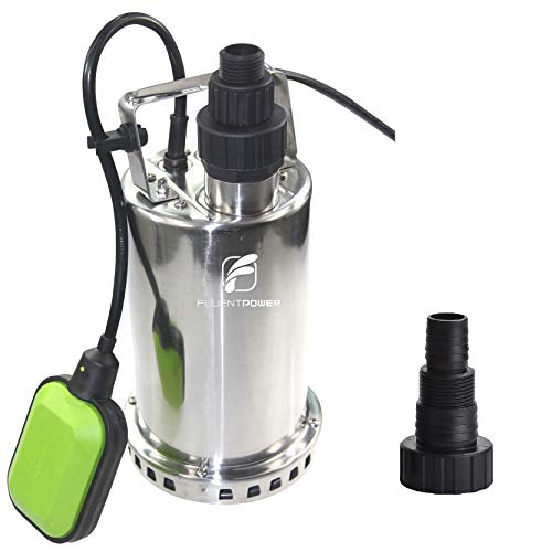 FLUENT POWER 3/4 HP Submersible Water Pump with Full Stainless Casing, Utility Sump Pump with 3/4
