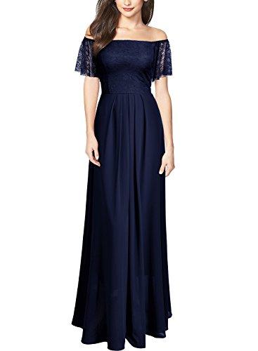 MIUSOL Coctel Donna Blu Lunghe da Vestito Pizzo Elegante Chiffon FqgrFX
