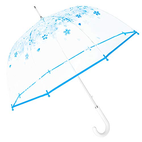 Kung Fu Smith Women Half Automatic Clear Flower Bubble Dome Shape Wind Stick Rain Umbrella, Blue