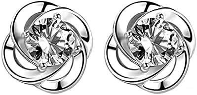 JLSD earrings S925 sterling silver diamond clover Swarovski earrings jewelry