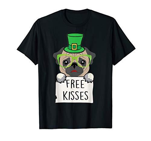 Free Kisses Pug Dog Tshirt Leprechaun St Patricks day gift for $<!--$17.99-->