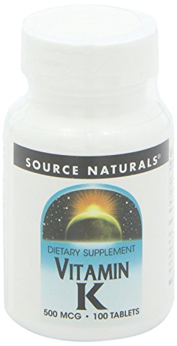 100% 500 Tabs Natural (Source Naturals Vitamin K -- 500 mcg - 100 Tablets)