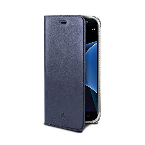 Celly airpelle Agenda Leder Wallet Cover Schutzhülle mit Glasfaser für Samsung Galaxy S7–Blau