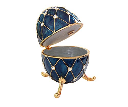 (Oval Shaped Navy Blue Beautiful Vintage Orgnizer Jewelry Music Box For Women By Orchid Jewelry)