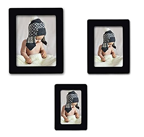 15-pack Magnetic Picture collage Frames for Refrigerator 4x 6'', 5 x 7'', 2.5 x 3'', Black, By - 4x5 Magnet
