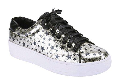 Cambridge Select Mujeres Low Top Cerrado Round Toe Con Cordones Allover Star Print Flatform Fashion Sneaker Gold