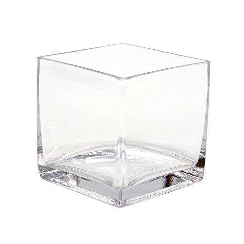 Koyal Wholesale 404345 6-Pack Cube Square Glass Vases, 6 by 6 by - Square Wholesale