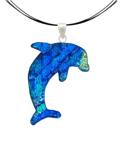 - Sterling Silver Dichroic Glass Blue Dolphin Pendant Necklace on Stainless Steel Wire- 18