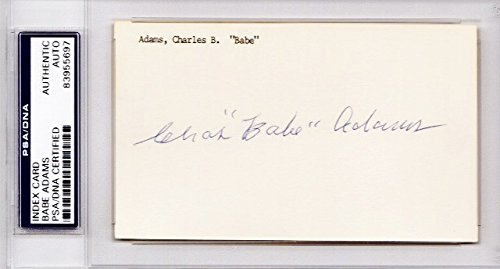 Babe Adams Autographed 3x5 inch index card - PSA/DNA Authenticity (COA) - PSA Slabbed Holder - Pittsburgh Pirates 2x World Series Champion - Deceased - World Pirates Pittsburgh Champions Series