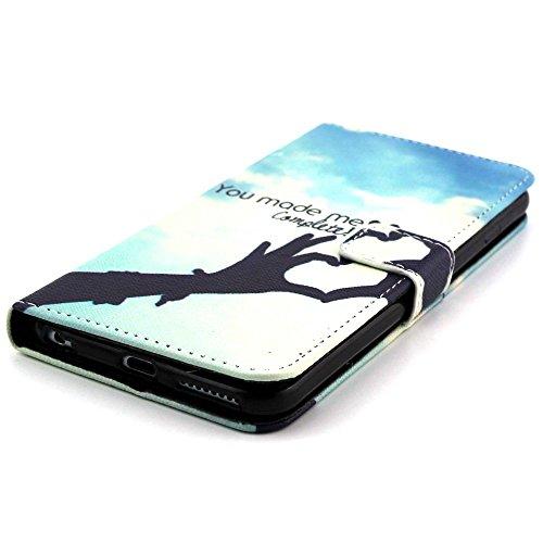 Apple iPhone 6S 6Plus Coque Étui de Love Cœur Bleu decui Bleu Étui de protection en cuir PU