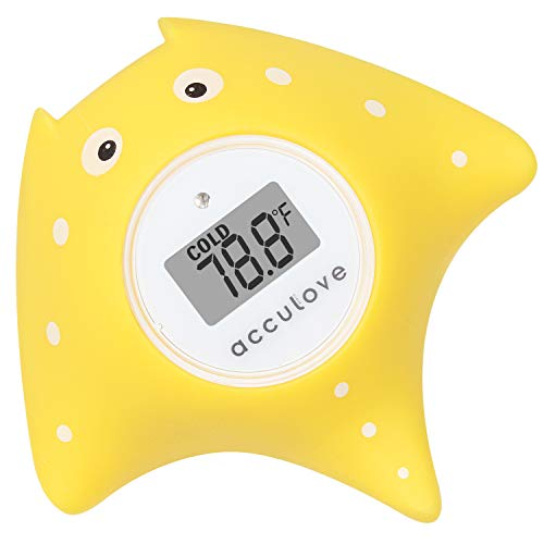 Acculove Baby Bath Thermometer,Room Thermometer, Baby Safe Floating Bath Thermometer for Bathtub and Swimming Pool, Yellow Fish Cartoon Shape, Safe Toy for Babies, Infants,New Borns, and Children