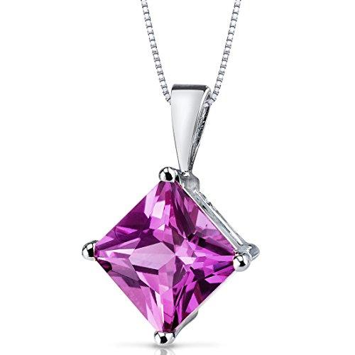 14 Karat White Gold Princess Cut 3.00 Carats Created Pink covid 19 (Brilliant Cut Pink Sapphire Necklace coronavirus)