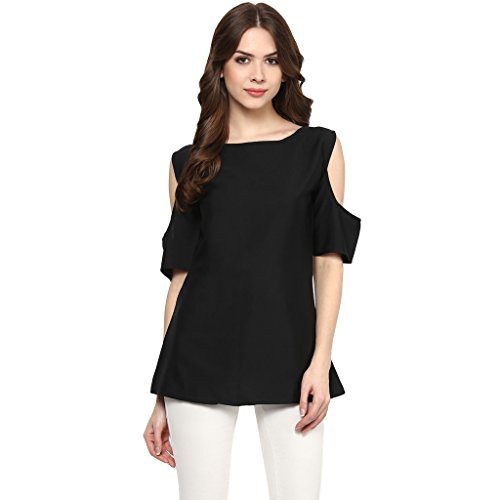 39b49f86bd67e ZIYAA Women s Black Colour Boat Neck and Shoulder Cut Half Sleeve Crepe  Digital Print Western Top (ZITOPCR5085)  Amazon.in  Clothing   Accessories