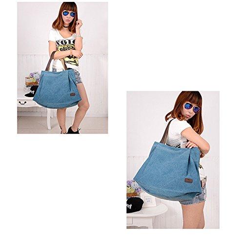 Bag Bag Blue School for Canvas Shoulder and Vintage Work Simple Hobo for Shopper Handbag Travel Girls Women Shopping Bag Tote Zq5qxpwCH