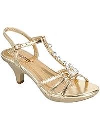 Delicacy Womens Strappy Rhinestone Dress Sandal Low Heel Shoes