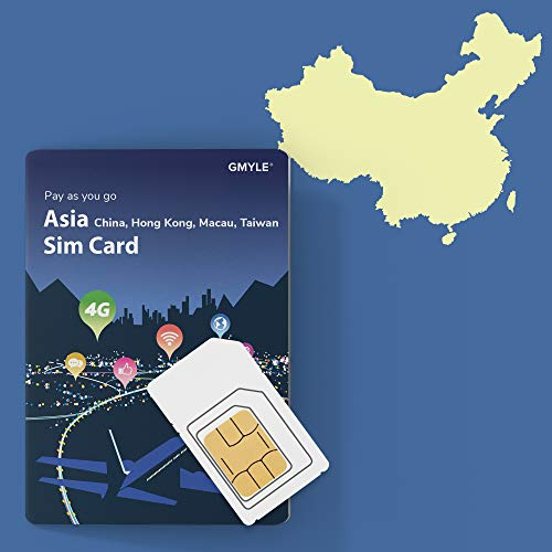 - GMYLE China, Taiwan, Hong Kong, Macau Prepaid SIM Card, 5GB 14 Days 4G LTE 3G Travel Data, Top up Anytime and Anywhere