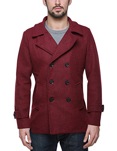 Match Mens Wool Blend Classic Pea Coat Winter Coats(010, Claret XXXX-Large)