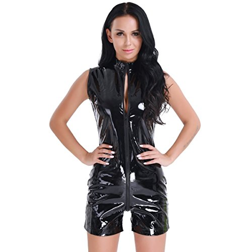 iEFiEL Women Wetlook Patent Leather Zipper Front Romper Catsuit Clubwear Costume Black -