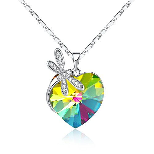 GAEA H - Heart Present Series Purple Heart Pendant Necklace, Dragonfly Necklace Crystals from Swarovski GHJN096LV