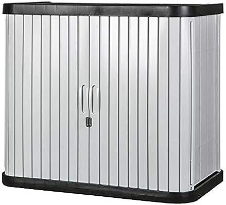 Arcón exterior Balcón exterior del armario de protección solar a prueba de agua Herramienta for el jardín Gabinete de almacenamiento con la cerradura de 2 niveles Puertas correderas for el hogar Muebl: