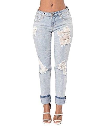 Pantalones Rotos Mujer HJ Elásticos Jeans Tejanos Azul Delgada Básicos Vaqueros Stretch WHn61tH