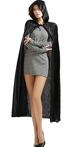 [Urban CoCo Women's Costume Full Length Crushed Velvet Hooded Cape (black)] (Halloween Capes Black Velvet Costumes)