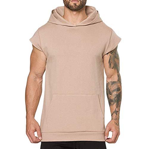 estate da cappuccio shirt Sport Top tasca Amlaiworld casual gilet cachi camicetta corta manica con T uomo 7w1nxFU
