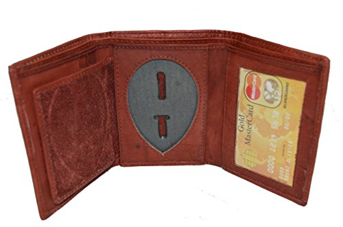 Leatherboss Police Shield Shape Badge Holder Trifold Wallet - Brown