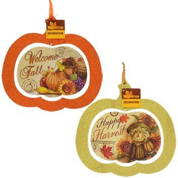 [Fall Harvest Glittered Jack-O-Lantern Pumpkins Halloween Decor Bundle Decoration Harvest Thanksgiving Window Decoration (Set of 2)] (Homemade Ty Beanie Baby Costumes)