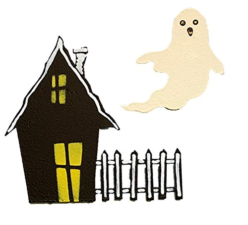 Roeda Brighten Your Life 13202M Halloween Ghost with Haunted House Set of 2 Assorted Magnets Made in USA]()