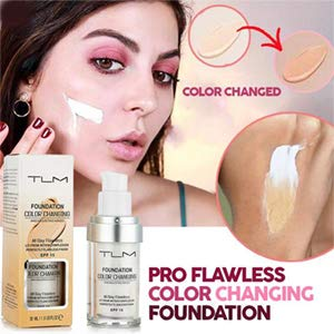 2 PACK TLM Concealer Cover Cream, Flawless Colour Changing Foundation Makeup, Warm Skin Tone Foundation liquid Base Nude Face Moisturizing Liquid Cover Concealer for Women and Girls