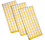 Urban Villa Terry Kitchen Towels, Premium Quality, 100% Cotton,Ultra Soft (Size: 20X30 Inch), Lemon Yellow/White Highly Absorbent Over Sized Kitchen Towels with Hanging Loop - (Set of 3)