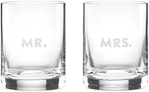 kate spade new york Darling Point Mr. and Mrs. Double Old-Fashioned Glasses, Set of 2