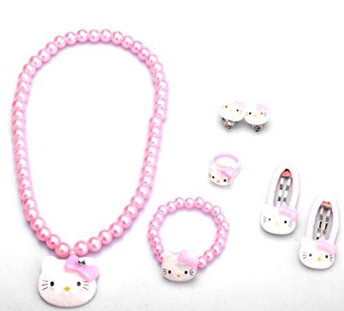 Glazed Black Cherry Sweet - Hello Kitty Jewerly Set - Necklace - Bracelet - Earrings - Ring - Hairclips - kittyset
