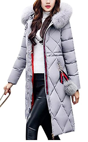 Collar Coat Quilted Fur Winter WLITTLE Down Long Warm Puffer Womens Grey Parka Jacket Ladies Hooded Winter Jacket Womens Cotton xvY0FzqY